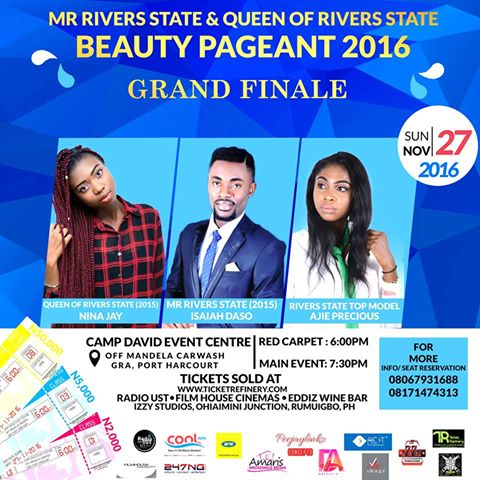 BREAKING NEWS: KEEP A DATE THIS SUNDAY EVENING:  MR RIVERS STATE AND QUEEN OF RIVERS STATE 2016.  Get your Tickets Now: details: