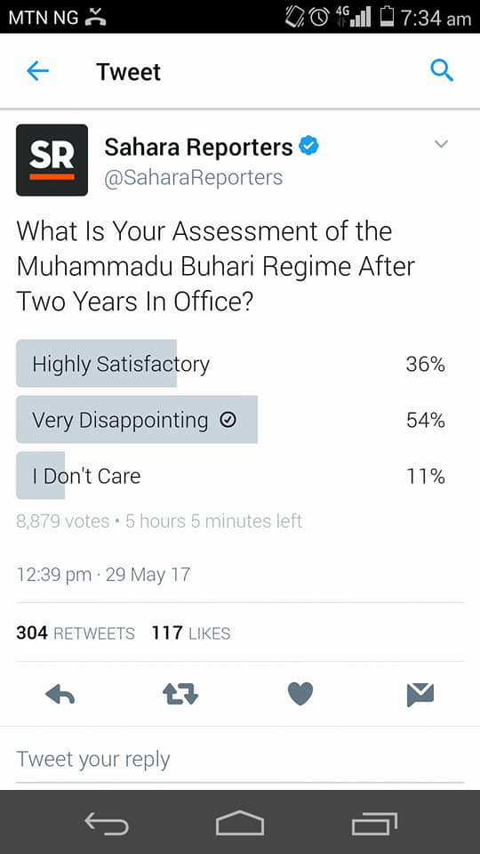 PHOTO OF THE DAY: BUHARI LED ADMINISTRATION POLL RESULT
