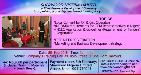 ONE DAY SPECILAIZED TRAINING FOR OIL AND GAS OPERATORS by SHERWOOD NIGERIA LIMITED