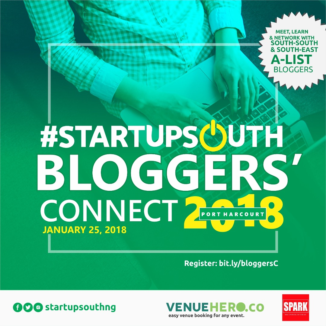 #BREAKING: Spark Media – Port Harcourt based energy support company with properties that include Sparkpay.com.ng, Sparkonline.com.ng and s4reports.com signs up to partner with #StartupSouth on #BloggersConnect